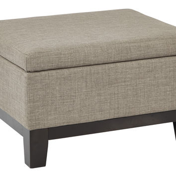 Office Star Regent Upholstered Storage Ottoman with Reversible Tray in in Milford Dolphin Fabric with Dark Expresso Legs [RGT824-M22]
