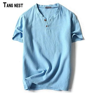 TANGNEST Men Short T shirts 2017 New Summer Style V-neck Linen T shirts Slim Fit Breathable Short-sleeved Tees M-5XL MCS661