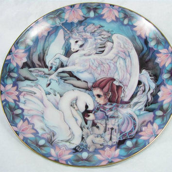 """Reco """"ONLY WITH the HEART"""" Fine China Plate 24k Gold Edge by Jody Bergsma"""