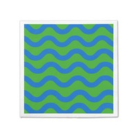 Paper Napkin with Blue Green Waves