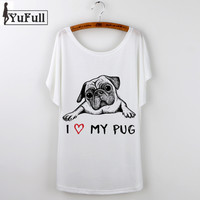 New 2016 Korean Graphic Tees Women T shirt Cartoon Pug Print Short Sleeve Femme T-Shirt White Plus Size Casual Loose Summer Tops