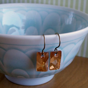 Golden Shadow Swarovski Crystal And Copper Earrings