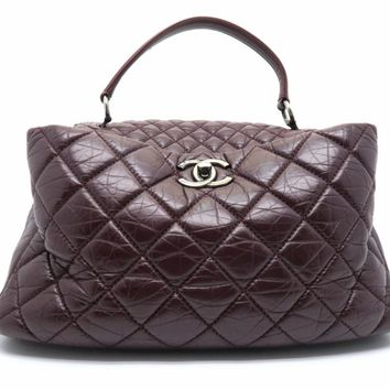 Chanel Quilting Calfskin Leather Chain Shoulder Tote Bag Wine Red