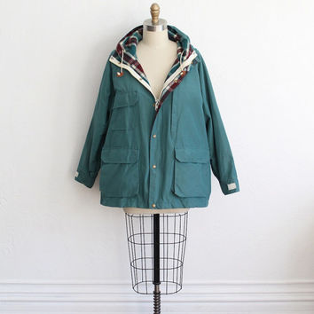 Vintage 1980s Unisex Woolrich Teal Plaid Lined Hooded Jacket // All Weather Coat