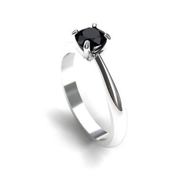 0.50ct Black Diamond solitaire ring made from white gold, black diamond engagement ring, unique, diamond ring, vintage style, simple, gothic