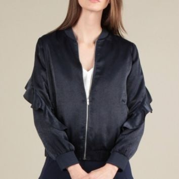 Women's Faux Silk Bomber Jacket with Ruffled Sleeves