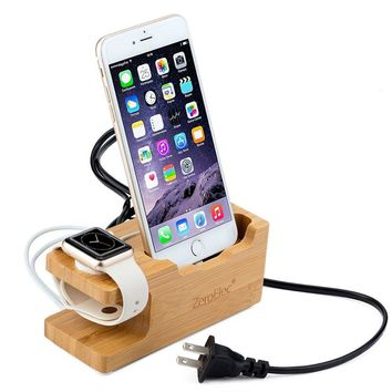 ZeroElec 15W 3A 3-Port USB Bamboo Wood Charging Station Dual Charging Station for Apple Watch and All iPhones, IOS and Android Phoness