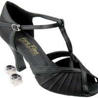 Very Fine Women's Salsa Ballroom Tango Latin Dance Shoes Style 2707 Bundle with Plastic Dance Shoe Heel Protectors, Black Satin 6 M US Heel 2.5 Inch