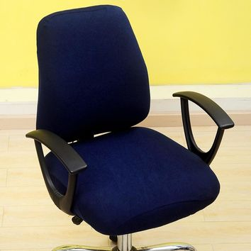 Meijuner Office Computer Chair Covers Spandex Split Seat Cover Office Anti-dust Universal Solid Black Blue Armchair Cover MJ046