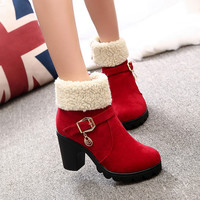 Women Ankle Boots Snow Brand Thick High Heel Boot Female Fashion Pu Leather Woman Shoes Winter Zapato