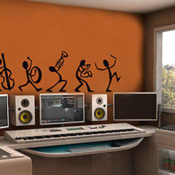 Wall Mural Vinyl Decal Sticker Art Studio Dance Music Band Stick Men  AL043