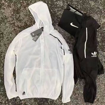 ADIDAS Fashion Casual Long Sleeve Hooded Prevent bask clothes G-YF-MLBKS
