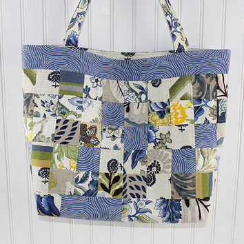 Patchwork Blue and Yellow Large Tote Bag, Market Bag, Fold Up Bag, Art Tote Bag, Everything Bag, MK148