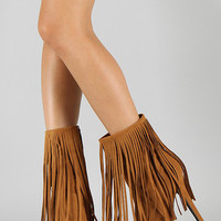 Mid Calf High Heel Shoes Boots Booties with Fringe. Dark Camel Tan