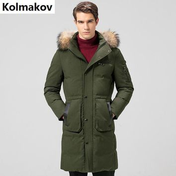 2017 winter Men's casual 80% white duck down down coats jackets Men's thick down cotton-padded jacket trench coat men sizeM-3XL