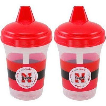 Nebraska Cornhuskers NCAA 5 oz Plastic Sippy Cups (Set of 2) BPA Free