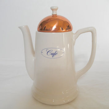Vintage Coffee Pot Copper White French Country Decor Minimalist Kitchenware White Kitchens Housewares Teapots
