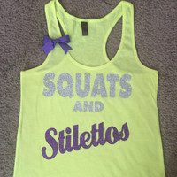SALE - Squats and Stilettos - Neon Yellow - Ruffles with Love - Womens Fitness - Workout Tank - Bow Tank