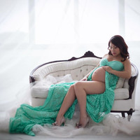 Lauren Seafoam Lace maternity gown/maternity dress/maxi dress/