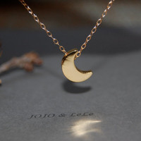 Gold crescent moon necklace, moon necklace, minimalist necklace, simple necklace, cute necklace