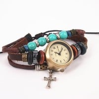 Vintage Style Watch with Turquoise Beads and Cross Pendant REC35