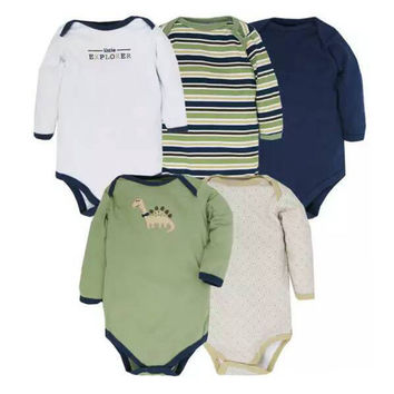 5pcs/ lot New Styles Baby Rompers Long Sleeves Newborn Baby Clothes Winter Infant Clothes One Piece Romper NB Girls NB Boys