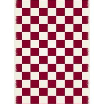 English Checker Design  Size Rug: 4ft x 6ft red & white colors with a weather aged finish super durable and multilayer technical grade vinyl rug.