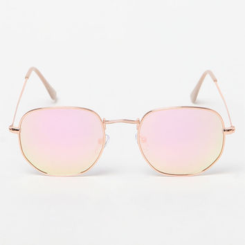 LA Hearts Rose Gold and Lennon Round Sunglasses at PacSun.com