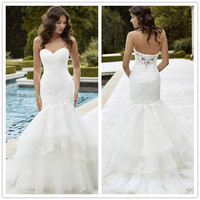 Lace Wedding Dresses Sweetheart Sleeveless Covered Button Appliques Sequins Tiered Tulle Mermaid Sweep Train