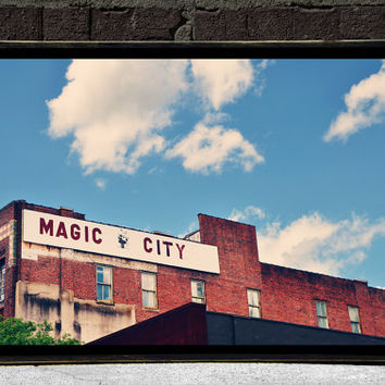 Birmingham Magic City Photography City Home Decor Urban Wall Art Cityscape Photography Print on Wood