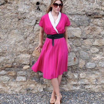 Cécile, French Vintage, Pleated Hot Pink Pink Midi Dress from Paris