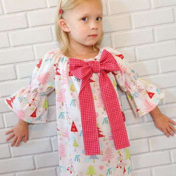 Girls Pink Christmas Dress Snowman Trees Boutique Clothing By Lucky Lizzy's