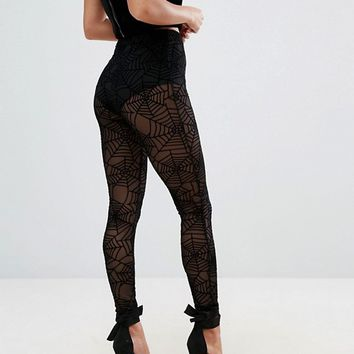 ASOS PETITE HALLOWEEN Leggings in Cobweb Mesh at asos.com