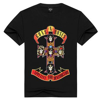Men/Women t shirt Fashion guns n roses Tshirts Summer Tops Tees GnR Rock T-shirt Men loose t-shirts Plus Size