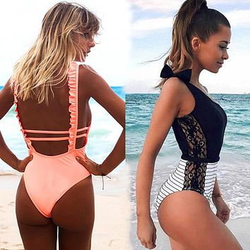 Sexy One Piece Swimsuit Women 2018 Summer Beachwear Lace One Shoulder Swimwear Bathing Suits Bodysuit Monokini Swimsuit
