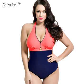 Sexy Plus Size Swimwear Large Size One Piece Swimsuit 2017 New Halter Push Up Padded Bathing Suit Women High Waist Swimsuit