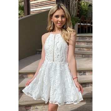 City Of Love White Lace Halter Skater Dress