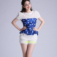 Polka Dots Print Flounced Bow Back Cut Outs and Yard Short