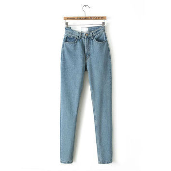 Winter Vintage High Rise Denim Pants Jeans [5013139524]