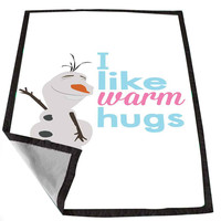 Disney Movies Frozen Movie Olaf I like warm hugs 104fc6a2-d45a-41e3-84cb-2db27bd8d535 for Kids Blanket, Fleece Blanket Cute and Awesome Blanket for your bedding, Blanket fleece *02*