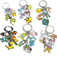 Pikachu Keychain Set Metal Lot Key Rings Monster Mew Shaymin Meowth Psyduck Charmander Raikou Lugia Key Chains Kids Toys