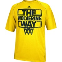 adidas Men's Michigan Wolverines Maize 'The Way' Basketball Performance T-Shirt