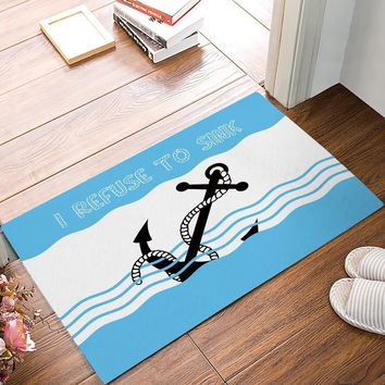 Autumn Fall welcome door mat doormat I Refuse To Sink - Blue And White Sea Wave s Kitchen Floor Bath Entrance Rug Mat Indoor Bathroom Decor ses AT_76_7