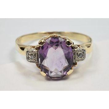 14k Yellow Gold 3.02 ct 1920's Oval Amethyst & Diamond Cocktail Ring Size 7.5