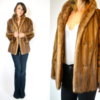 AUTUMN HAZE female ranch genuine MINK fur glam coat jacket, extra small-small