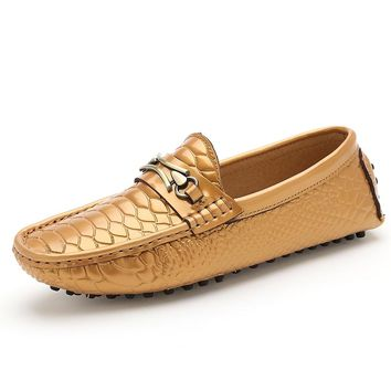 male fish skin men shoes luxury brand loafers gold white glossy satin ballet flats driving mocassin patent leather shoes for men
