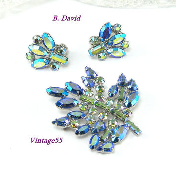 Vintage B. David Maple Leaf Brooch Earrings clip on