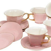 Pink Inside Out Heart Teacups and Saucers Set of 6 Perfect for Valentine's Day