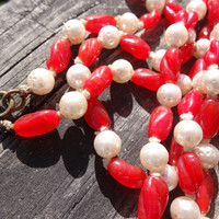 Vintage Red & White Necklace with Glass Beads