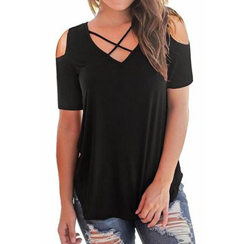 Women Summer Tops Fashion Open Shoulder V Neck Short Sleeve Shirts Casual Criss Cross Solid Blouse #BF